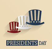Presidents Day poster. Red, white and blue hats Stock Photo