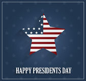 Presidents day poster with striped star on blue background Royalty Free Stock Images