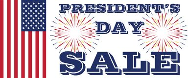 Presidents Day Sale Art with Flag and Fireworks vector illustration