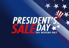 Presidents` Day Sale banner with american flag and stars background royalty free illustration