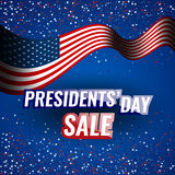 Presidents` Day Sale banner with american flag and stars background. Stock vector Stock Images