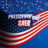 Presidents` Day Sale banner with american flag and stars background. Stock vector Vector Illustration