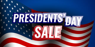 Presidents` Day Sale banner with american flag and stars background. Stock vector Stock Image