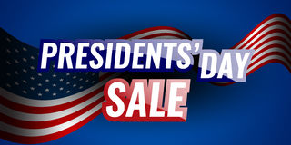 Presidents` Day Sale banner with american flag and stars background. Stock vector Royalty Free Stock Images