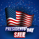 Presidents` Day Sale banner with american flag and stars background. Stock vector royalty free illustration