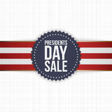 Presidents Day Sale blue Label with striped Ribbon Royalty Free Stock Image