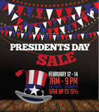 Presidents Day sale bunting and Uncle Sam background Royalty Free Stock Image