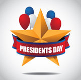 Presidents Day star and balloons Icon Stock Photo
