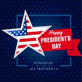 Presidents day star and ribbon banner template. Happy President`s Day 19 february for web banner. Vector illustration Stock Photo