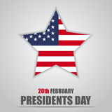 Presidents Day. Star with USA flag inside Royalty Free Stock Photos