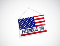 presidents day us hanging flag illustration Royalty Free Stock Images