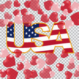 Presidents` Day. US inscription on the translucent background hearts top and bottom. vector illustration Stock Images