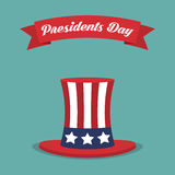 Presidents Day. USA hat with red ribbon in a flat design Royalty Free Stock Images
