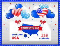 PRESIDENTS DAY in the USA. VECTOR eps 10. Design for PRESIDENTS DAY in the USA. Balloons, bow and stars, American flag in kind of balloons. You can use also for Royalty Free Stock Image