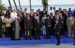 Presidents of Delegations pose for the official photograph in the 17th Summit of the Non-Aligned Movement Royalty Free Stock Image