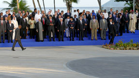 Presidents of Delegations pose for the official photograph in the 17th Summit of the Non-Aligned Movement Royalty Free Stock Photos