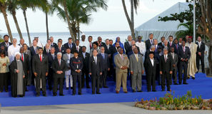 Presidents of Delegations pose for the official photograph in the 17th Summit of the Non-Aligned Movement Royalty Free Stock Photo