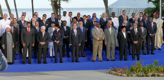 Presidents of Delegations pose for the official photograph in the 17th Summit of the Non-Aligned Movement. In Porlamar, Margarita Island, Venezuela on September Royalty Free Stock Image