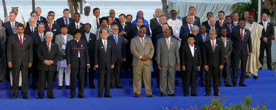 Presidents of Delegations pose for the official photograph in the 17th Summit of the Non-Aligned Movement Stock Photo