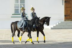 Presidents- guards på hästar Arkivbilder