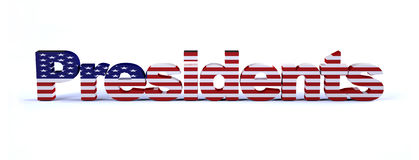 Presidents sign with american flag. Isolated on white 3d illustration Royalty Free Stock Photography