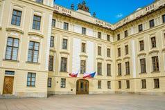 Presidents- slott i Prague, tjeckisk republik Historisk kunglig fjärdedel av staden Fotografering för Bildbyråer