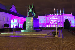 Presidents- slott på natten. Warsaw.Poland Royaltyfria Bilder
