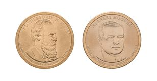 Presidents- USA - 1 dollar mynt Arkivbilder
