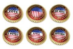 presidents- val för 2012 knappar Arkivbilder
