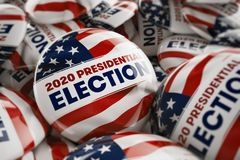 Presidentvalknappar 2020 Arkivbild