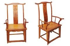 Presidenza cinese della mobilia antica su bianco Fotografia Stock Libera da Diritti