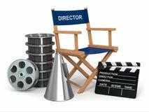 Presidenza del produttore, clapperboard e reelsl della pellicola. royalty illustrazione gratis