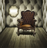 Presidenza di cuoio di lusso nella retro stanza Immagine Stock Libera da Diritti