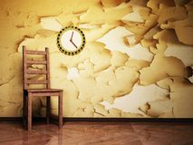 Presidenza di legno e un orologio piacevole Fotografia Stock Libera da Diritti