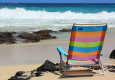 Presidenza di spiaggia sulla spiaggia Fotografia Stock