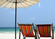 Presidenza sulla spiaggia Immagine Stock