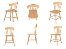 Presidenze di legno negli angoli differenti immagini stock