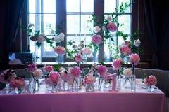 Presidium, special wedding table for a couple or two. Indoor. Formal, marriage. Presidium, table wedding for a couple or two. Indoor. Formal, marriage. Wedding Royalty Free Stock Image