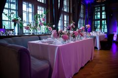 Presidium, wedding table for a couple or two. Indoor. Formal, marriage. Presidium, table wedding, for a couple, two. Indoor. Formal, marriage. Wedding table Royalty Free Stock Images