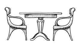 presiede la tabella due Illustrazione di vettore in uno stile di schizzo Fotografia Stock