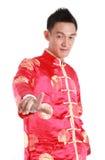 Presionado a mano chino asiático feliz del Año Nuevo en el fondo blanco Imagen de archivo libre de regalías