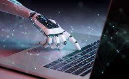 Presionado a mano robótico un teclado en una representación del ordenador portátil 3D libre illustration