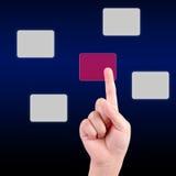 Presionado a mano un botón de la pantalla táctil Imagen de archivo libre de regalías