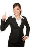 Presionar a la mujer de negocios del botón Imagen de archivo