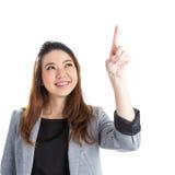 Presionar a la mujer de negocios del botón Fotografía de archivo libre de regalías