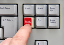 Presione el botón de pánico Imagenes de archivo