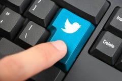Presione el botón del teclado de Twitter Foto de archivo libre de regalías