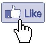Presione el pulgar para arriba como el botón Imágenes de archivo libres de regalías