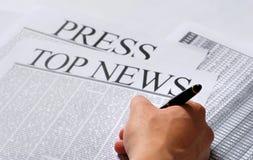 Presione las noticias Imagen de archivo libre de regalías