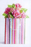 Presnt box with flowers inside. Stock Images